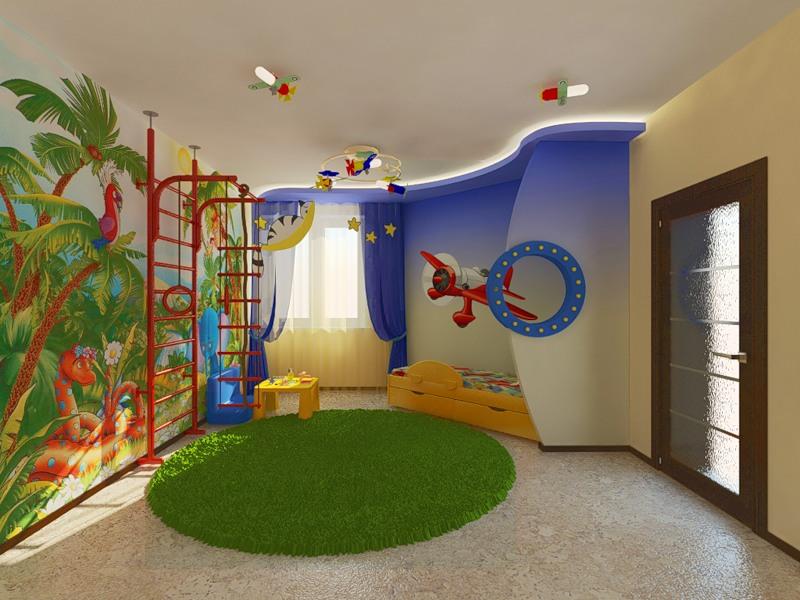 Дизайн детской для мальчика по одной стене