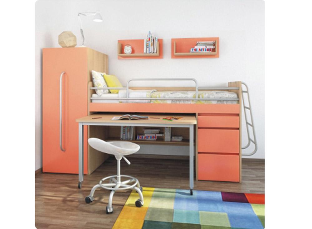 Синие кровати-чердаки со шкафом в современном стиле с ящикам.
